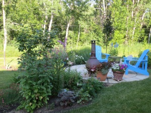 Current garden, ground level patio from flagstone
