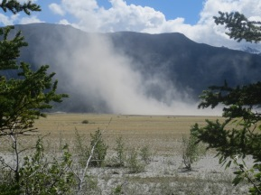 Dust from the silt on the Slims river, at Kluane Lake